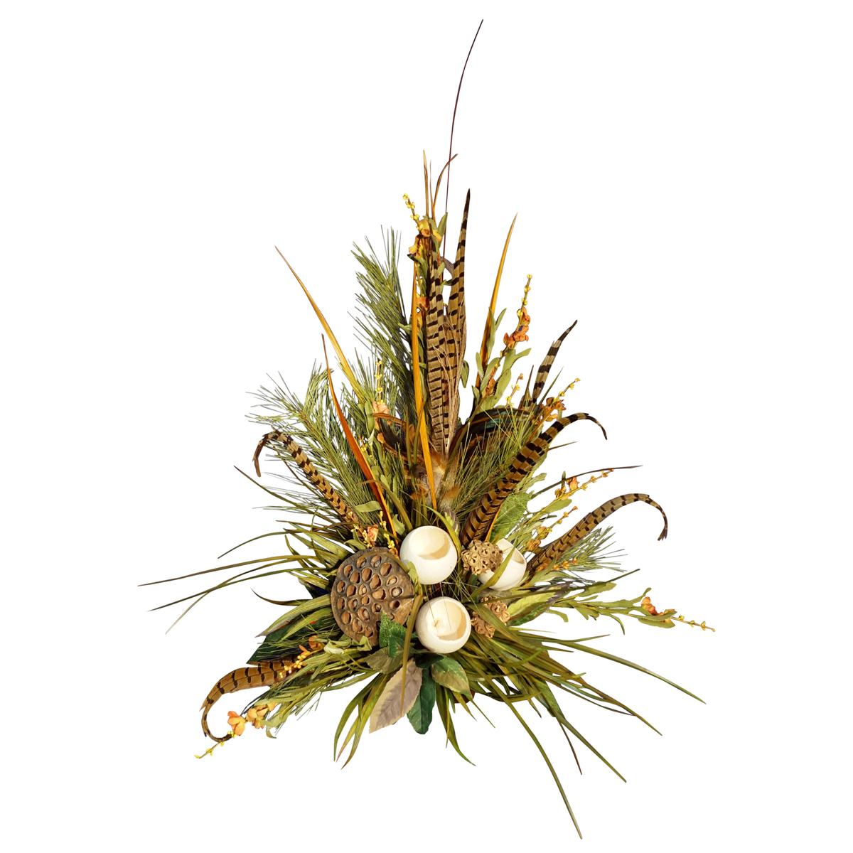 Greenery Arrangement with Pods and Feathers
