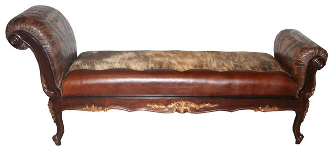Hair on Hide and Tooled Leather Chaise Lounge