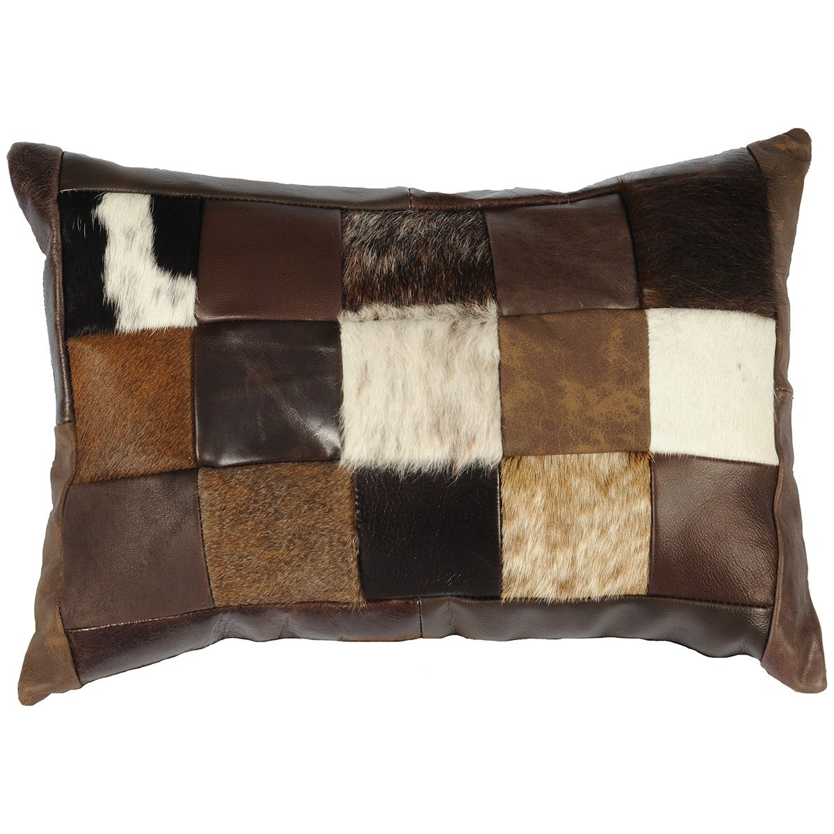 Hair on Hide & Leather Collage Rectangle Pillow with Fabric Back