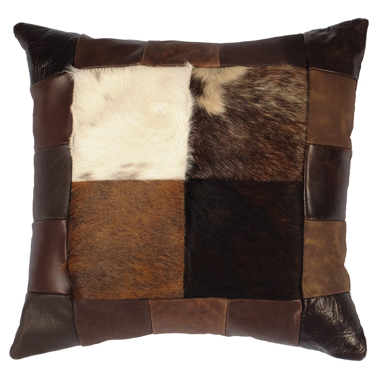 Hair on Hide & Leather Collage Square Pillow with Fabric Back