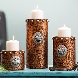 14b7435037 Hammered Copper Candle Holders - Set of 3. $70.95 $59.95