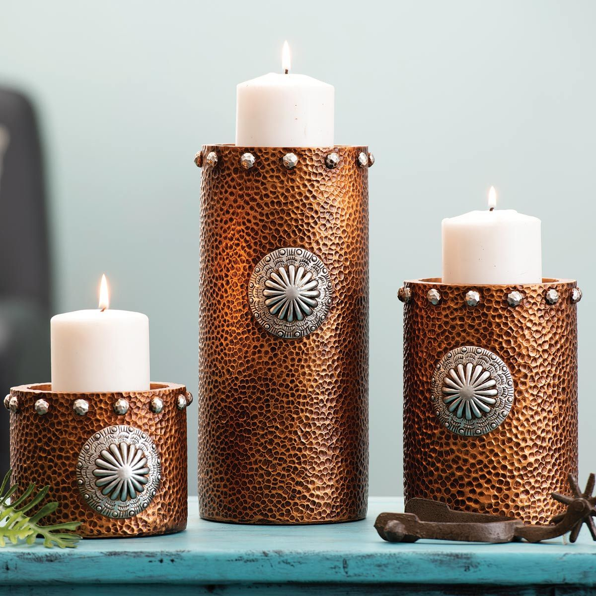 Hammered Copper Candle Holders - Set of 3
