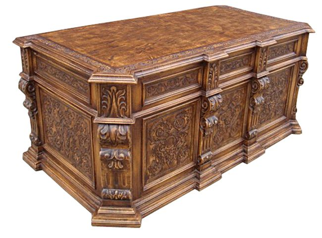 Hand-Carved Executive Desk