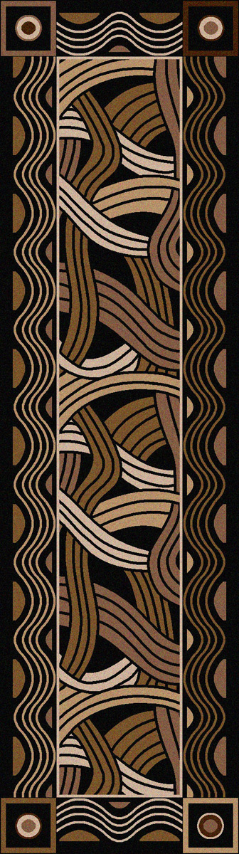 Hand Coiled Black Rug - 2 x 8
