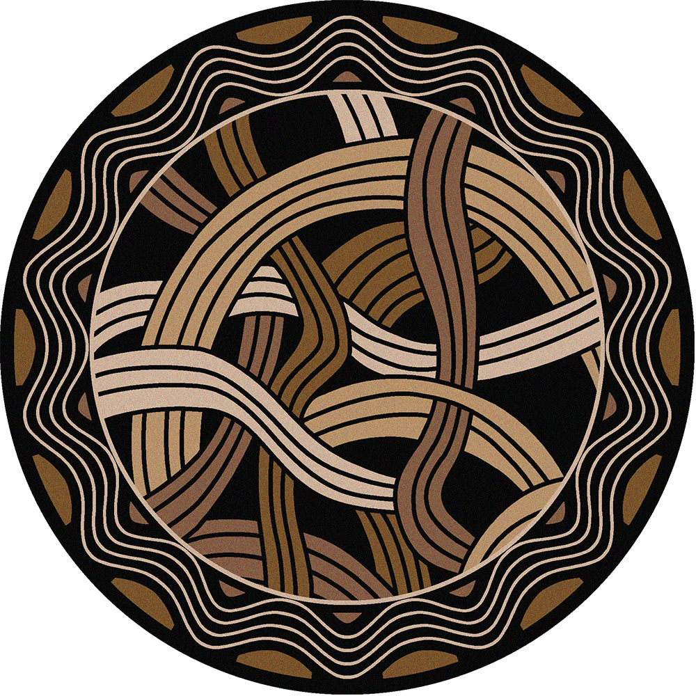Hand Coiled Black Rug - 8 Ft. Round