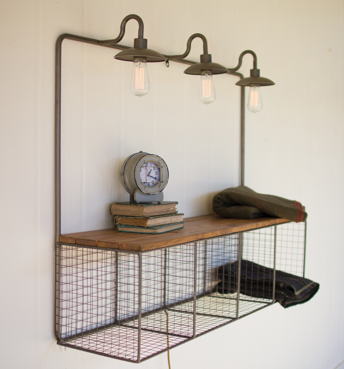 Hanging Metal and Wood Cubby with Lights