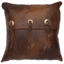Harness Leather with Flap & Slotted Conchos Pillow - Fabric Back