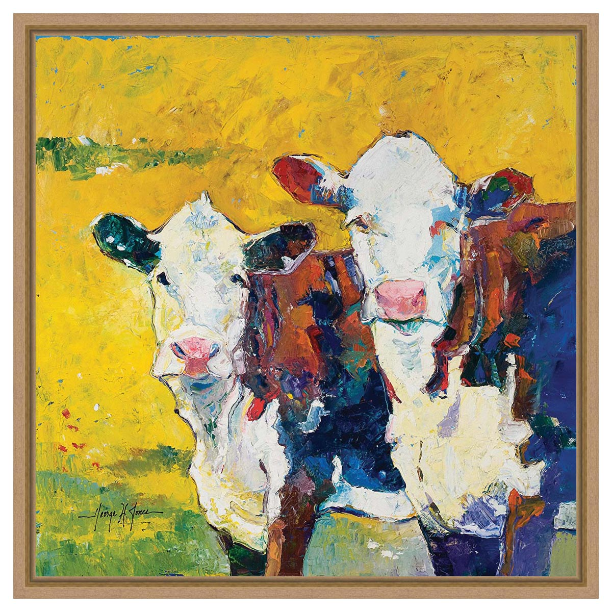 Hayfield Cows Framed Canvas