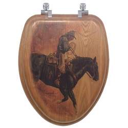Hell Bent for Leather Wood Toilet Seat