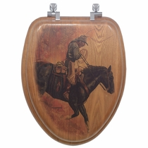 Hell Bent for Leather Wood Toilet Seat - Elongated