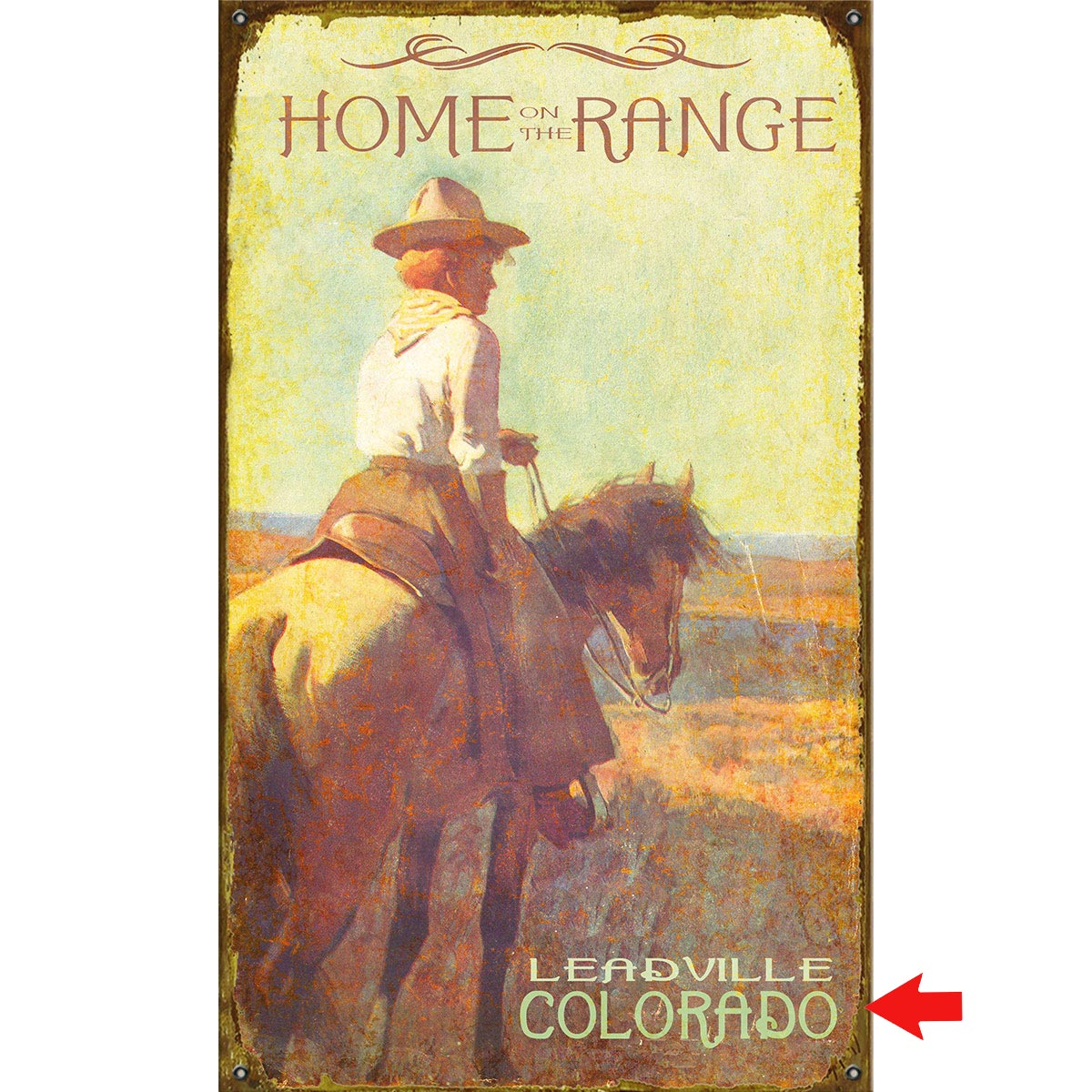 Home on the Range Personalized Sign - 14 x 24