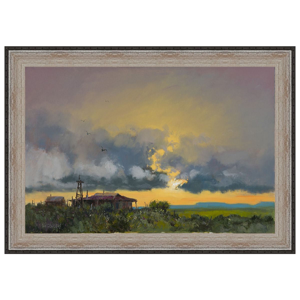 Homestead Sunset Framed Canvas