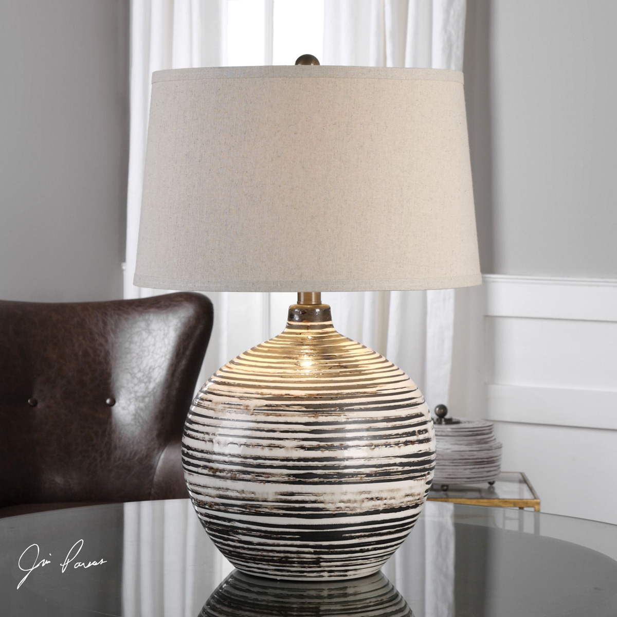 Horizontal Dark Mocha & Ivory Stripe Table Lamp
