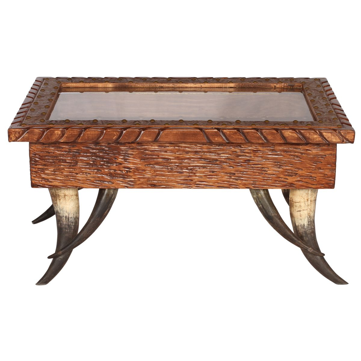 - Rustic Tables: Small Horn Collection Shadow Box Coffee Table