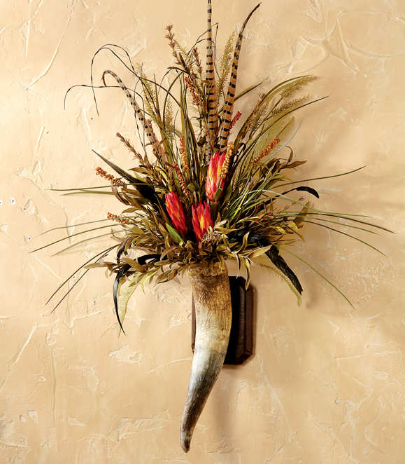 Horn Floral Wall Piece