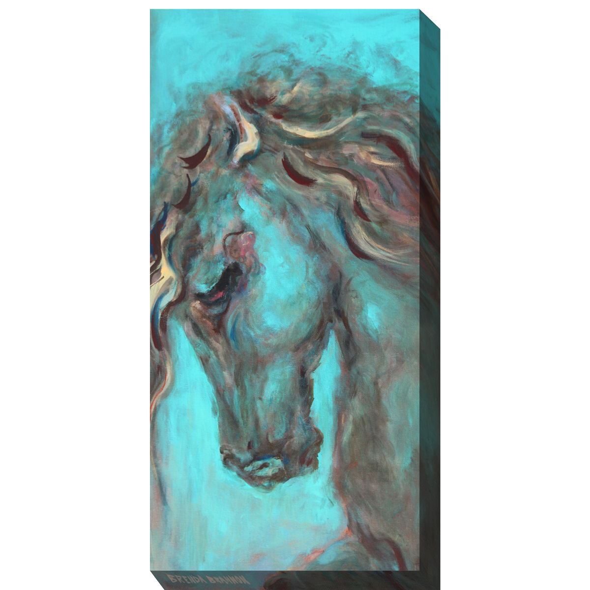 Horse in Turquoise I Canvas Art