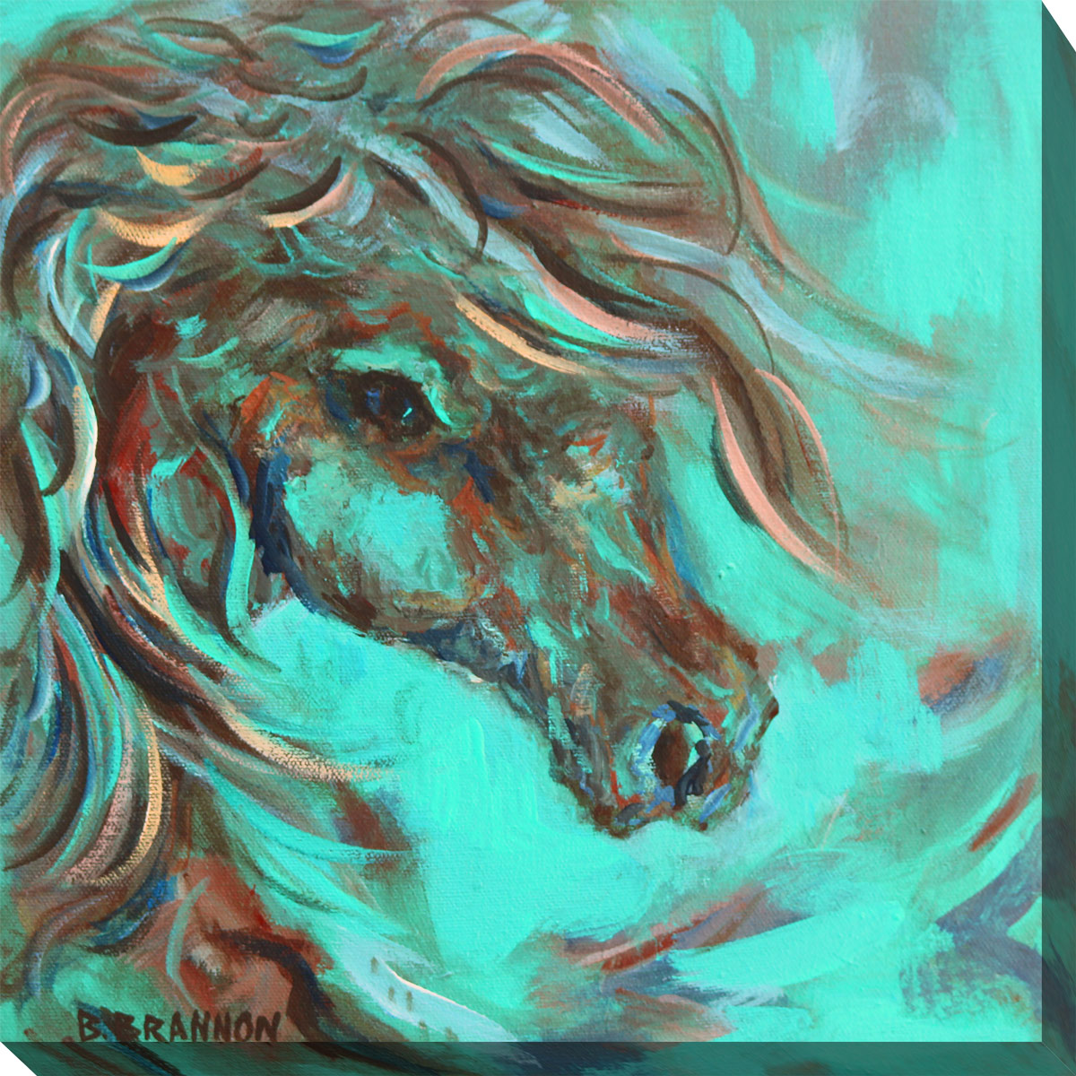 Horse in Turquoise II Canvas Art