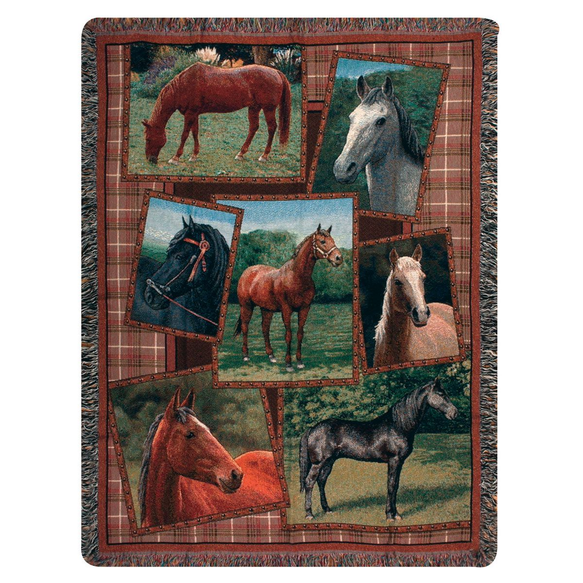 Horse Portraits Tapestry Throw