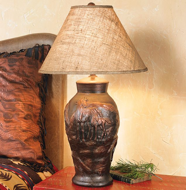 Horse Pottery Lamp with Burlap Shade