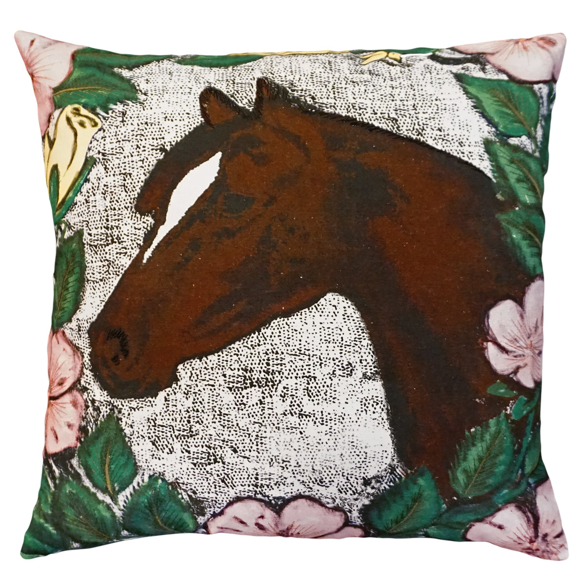Horse & Roses Embroidered Pillow