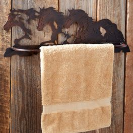 Horse Scene Metal Towel Bar