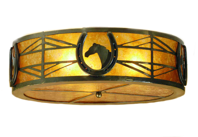 Horse Shoe Ceiling Mount Light Fixture