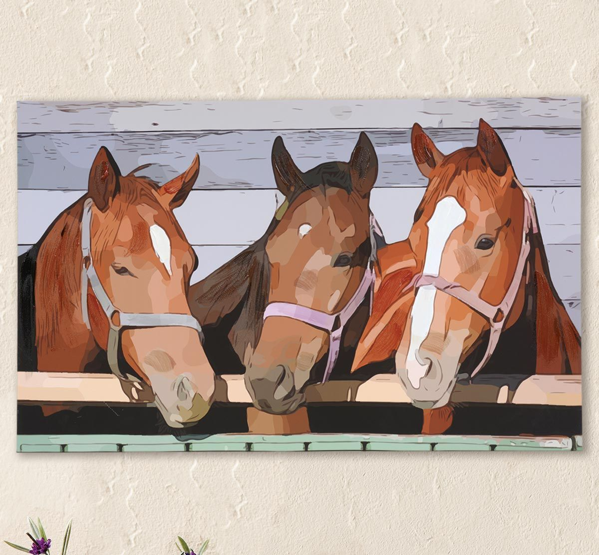 Horse Stable Pals Canvas Wall Art