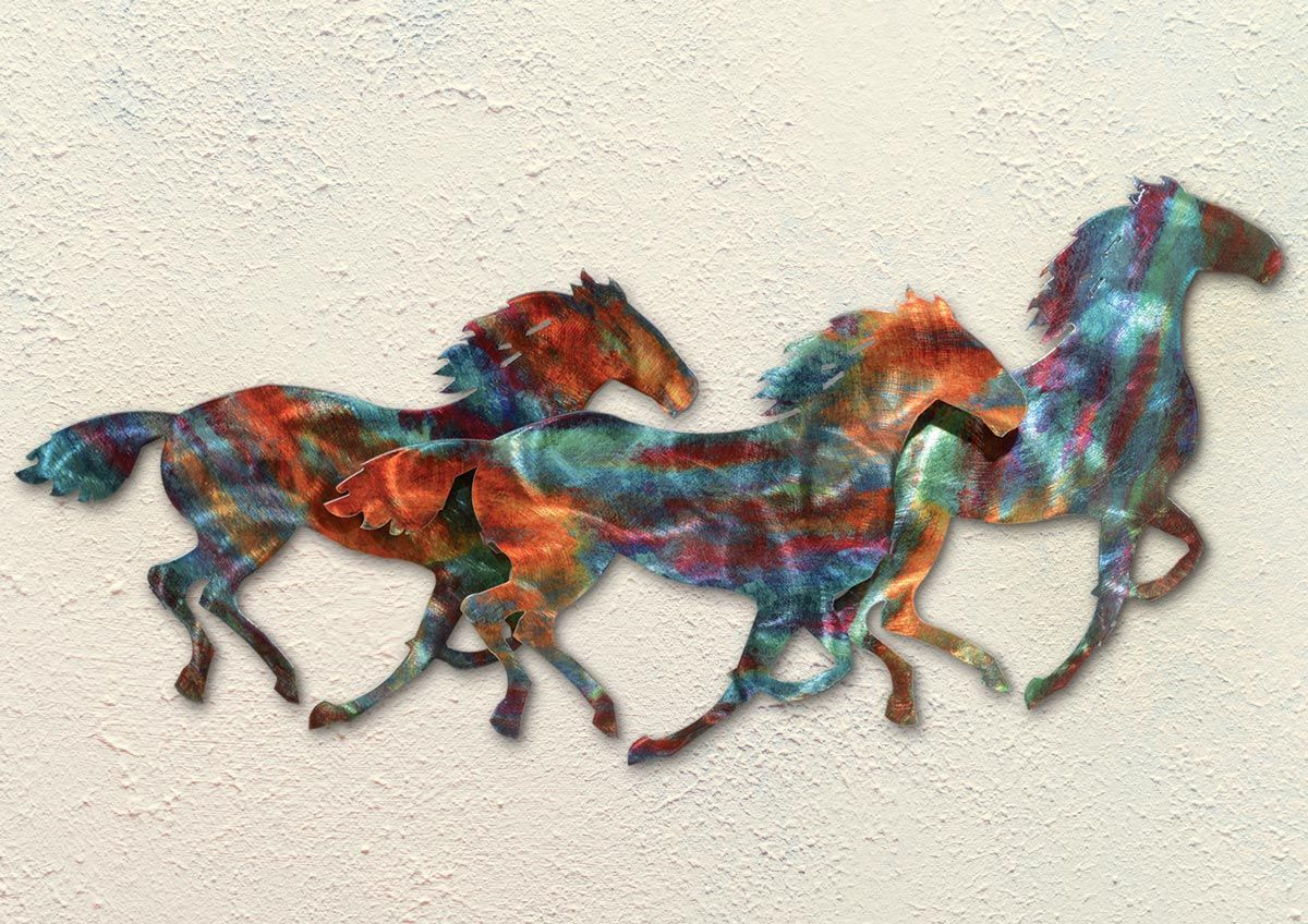 Horse Stampede Copper Patina Metal Wall Art