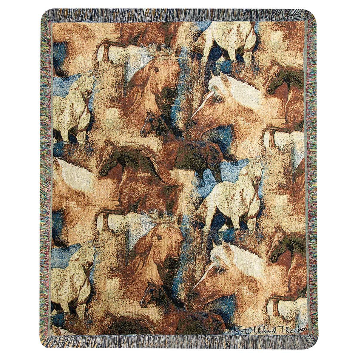 Horse Stampede Tapestry Throw