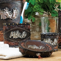 Horse Tooled Leather Bath Set (3 pcs)