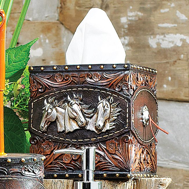 Horse Tooled Leather Tissue Box