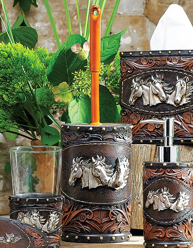 Horse Tooled Leather Toilet Brush