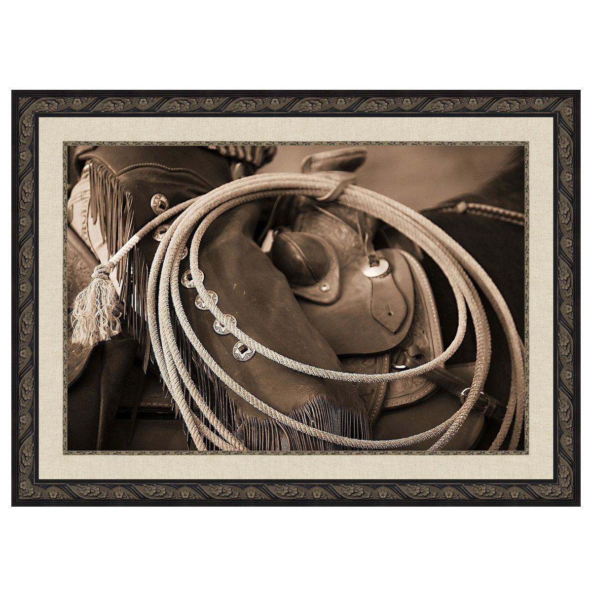 Horseback Cowgirl's Lasso Framed Canvas