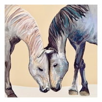 Horses in Love Canvas Art - 14 x 14