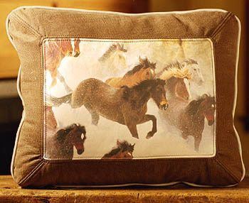 Horses In Snow Leather Pillow
