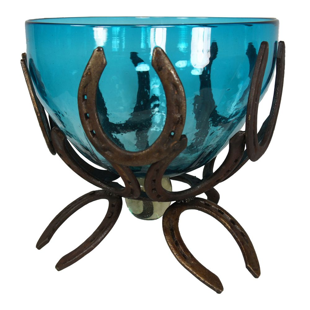 Horseshoe and Turquoise Glass Bowl