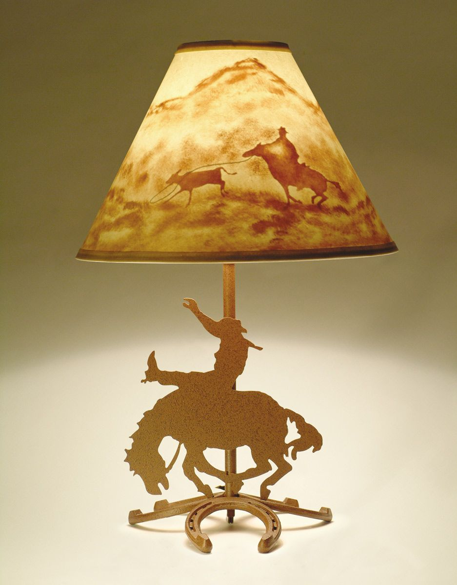 Horseshoe Lamp with Hand Painted Cowboy Shade