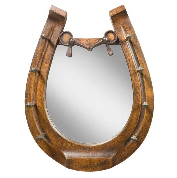 Horseshoe Mirror - Brushed Wood