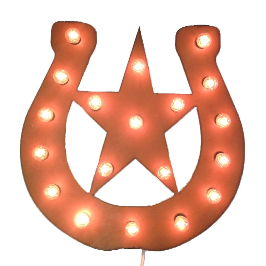 Horseshoe Star Lighted Marquee Sign