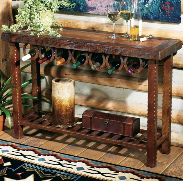Rustic Tables Horseshoe Wine Rack Table