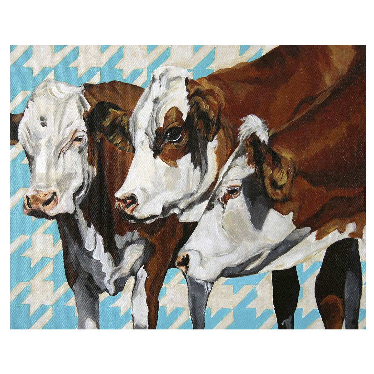 Houndstooth Hereford Cows Canvas Art