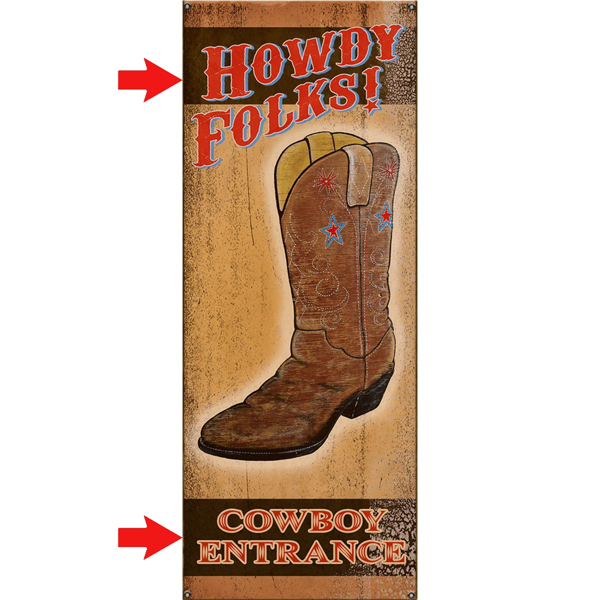 Howdy Folks Personalized Sign - 17 x 44