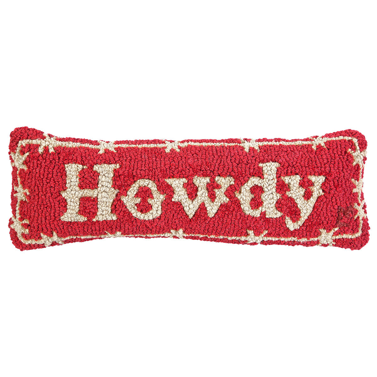 Howdy Hooked Wool Rectangle Pillow