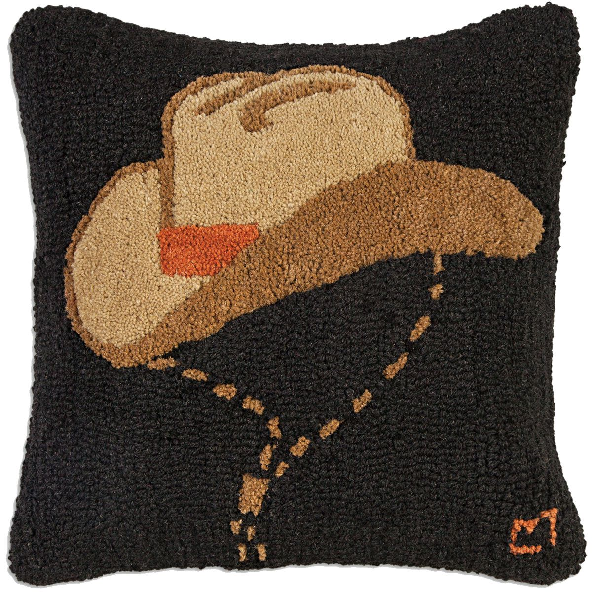 Howdy Man Cowboy Hat Hooked Wool Pillow