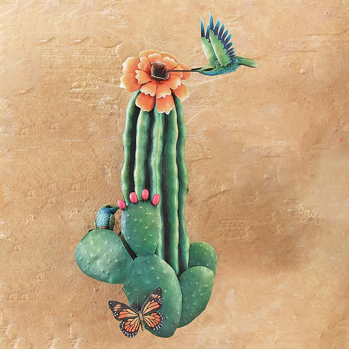 Hummingbird Cactus II 3-D Metal Wall Art