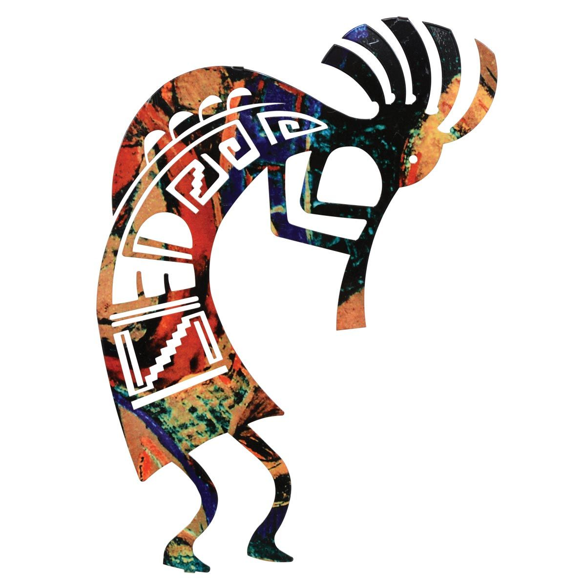 Kokopelli Dance Metal Wall Art - 12 Inch