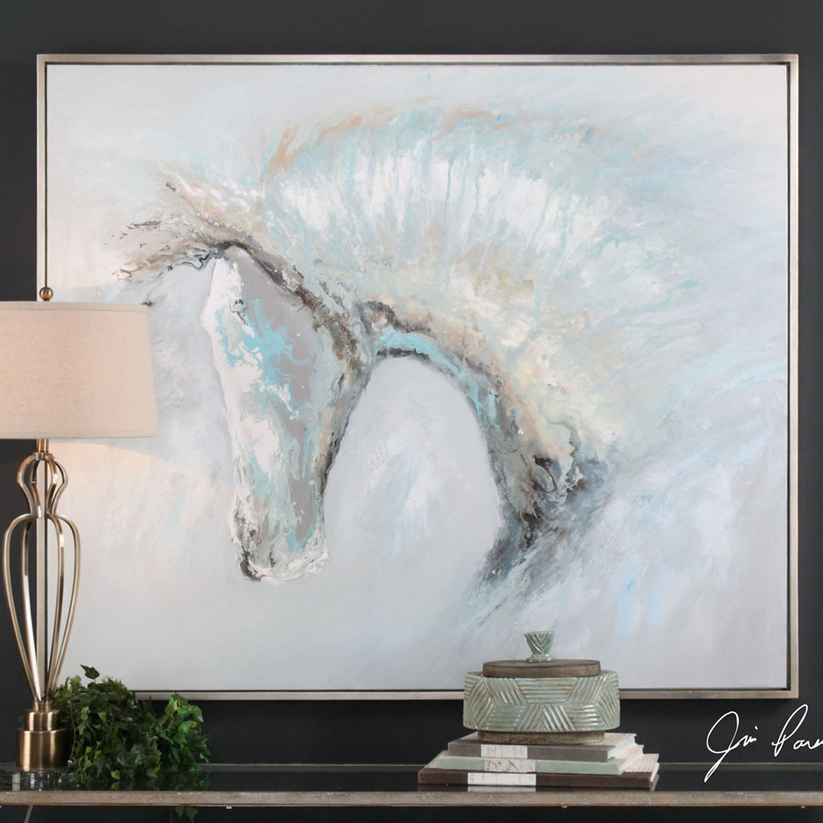 Icy Horse Framed Canvas