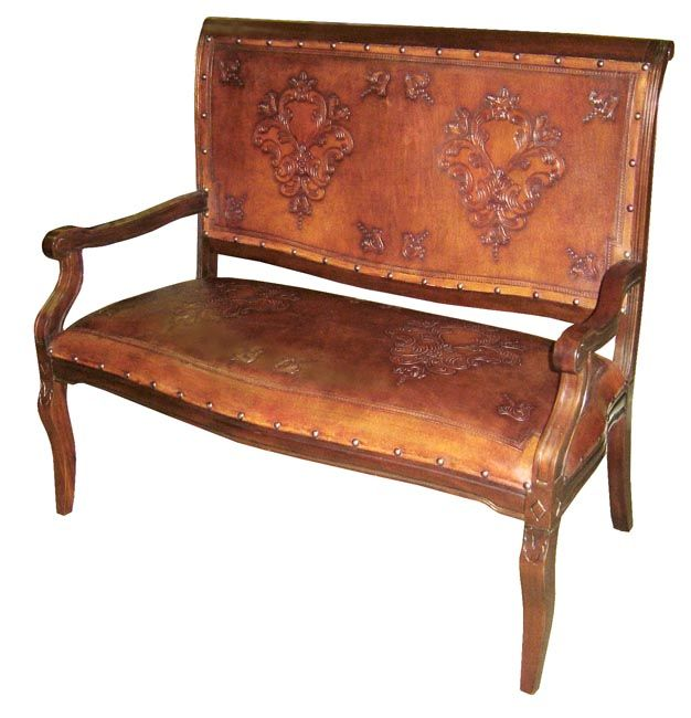 Imperial Bench with Colonial Leather Design
