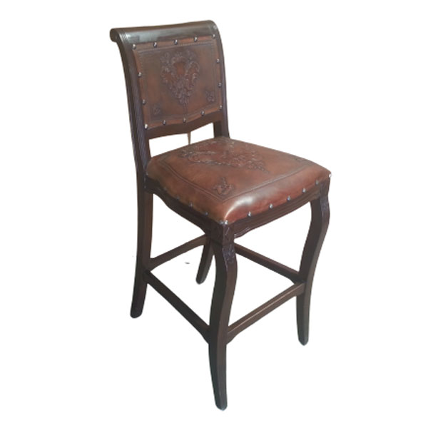 Imperial Counter Stool - Fleur de Lys & Antique Brown