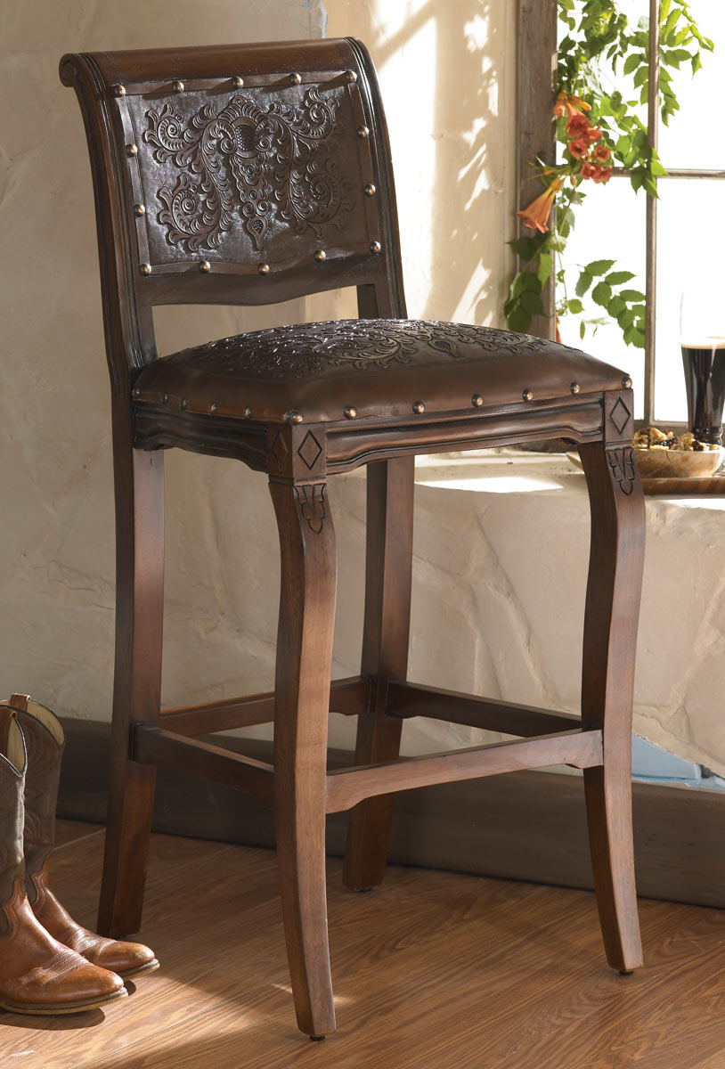 Imperial Counter Stool with Tooled Leather - Set of 3
